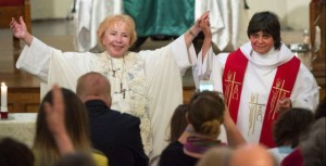 Bishop Bridget Mary Meehan and newly ordained priest Clare Julian Carbone